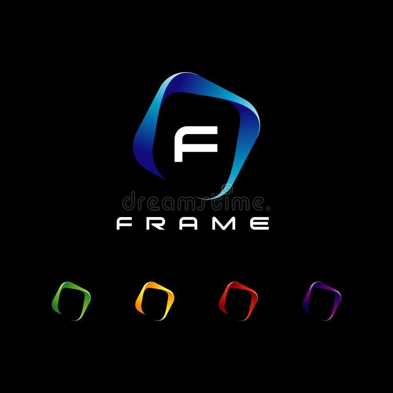 与信件集合的抽象五颜六色的框架商标标志标志象 库存例证