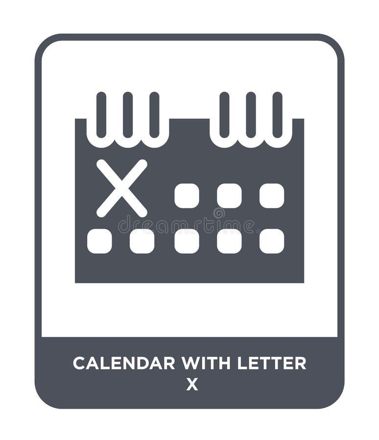 与信件x象的日历在时髦设计样式 与在白色背景隔绝的信件x象的日历 与信件的日历 向量例证