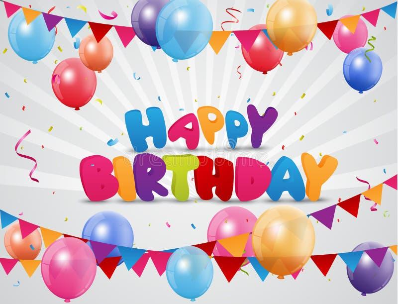 与信号旗、五颜六色的气球和五彩纸屑的生日快乐背景 向量例证
