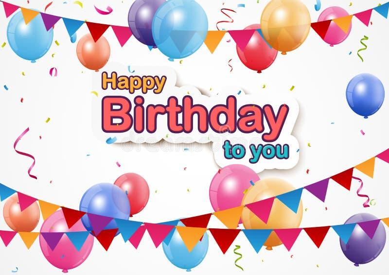 与信号旗、五颜六色的气球和五彩纸屑的生日快乐背景 皇族释放例证
