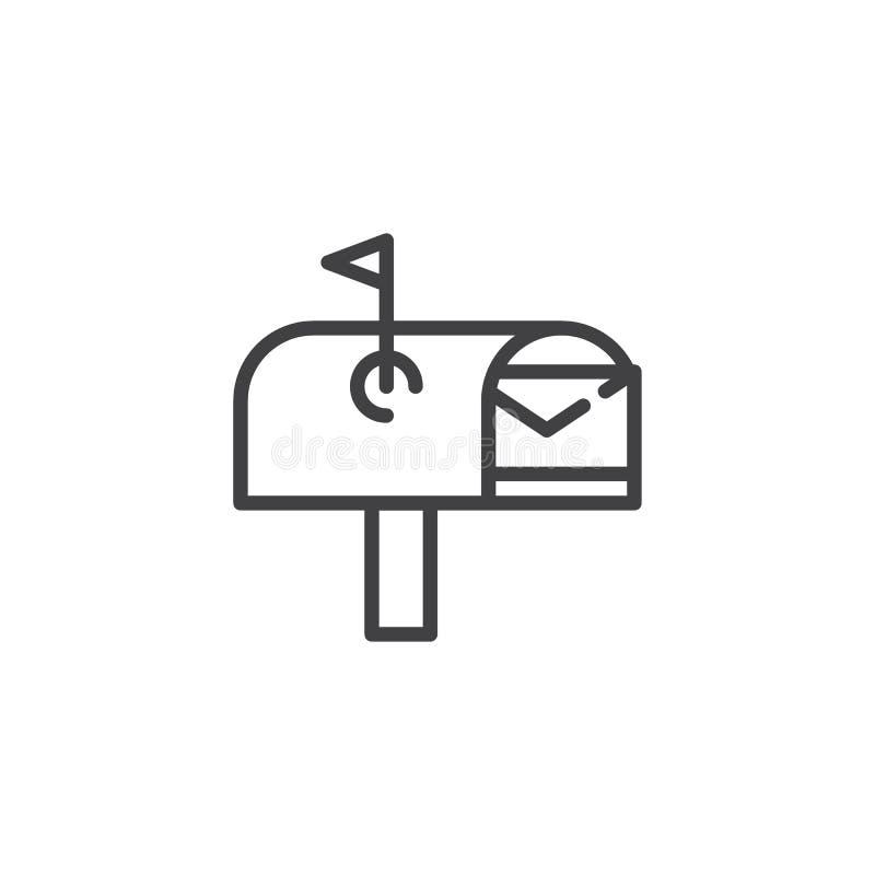 与信封线象的开放邮箱 皇族释放例证