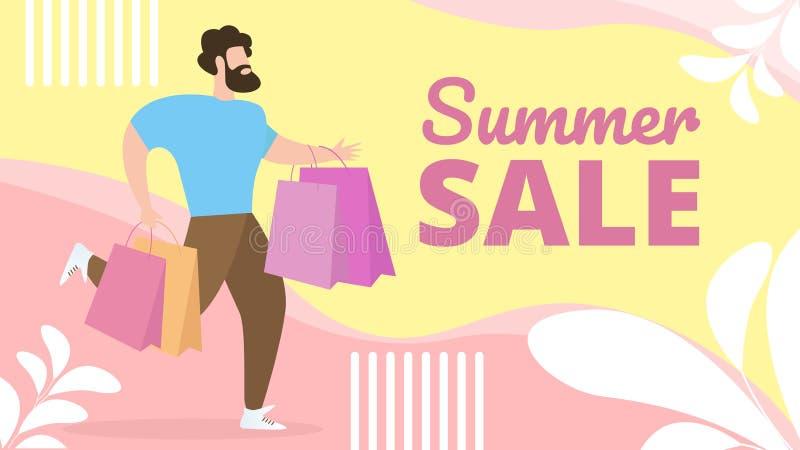 与信息有关的平的横幅夏天销售字法 库存例证