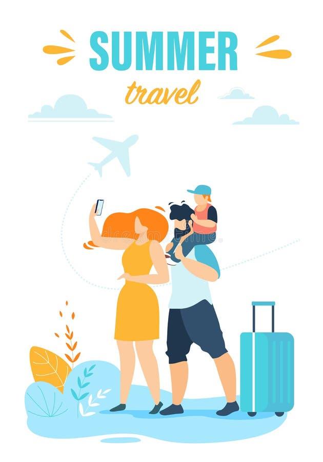 与信息有关的飞行物书面夏天旅行 库存例证