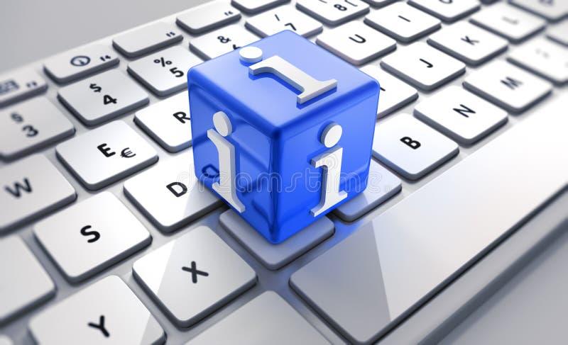 与信息标志的蓝色立方体在键盘 向量例证