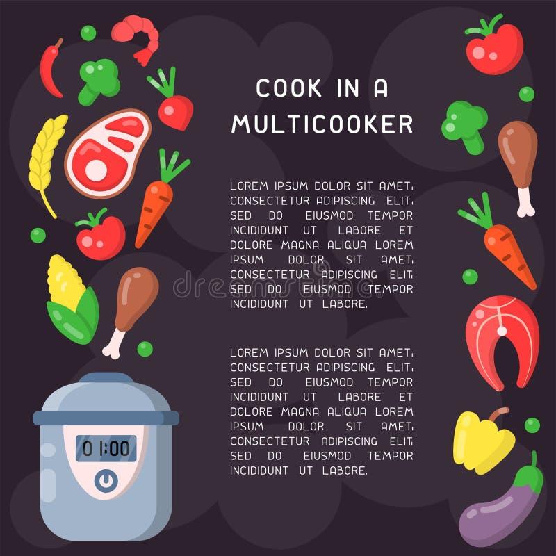 与信息的海报关于烹调在multicooker 皇族释放例证
