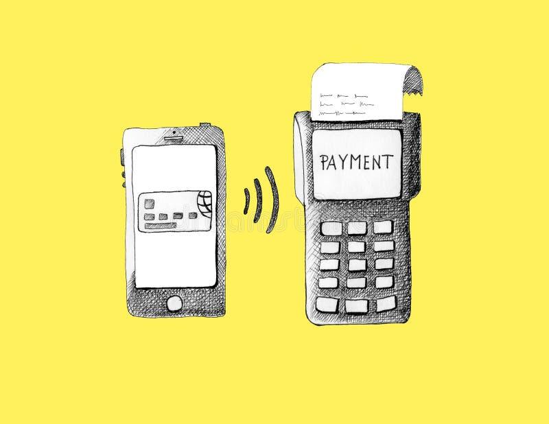 与信用卡的Iphone不接触的付款的 免版税库存图片