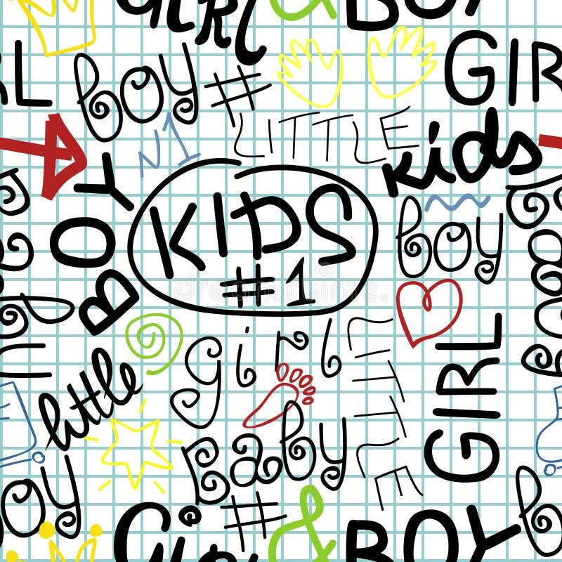 与信件的儿童无缝的样式在方格的背景 向量例证