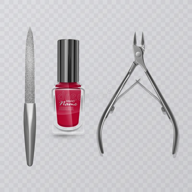 与修指甲工具、红色指甲油、指甲锉和现实表皮去膜剂飞剪机的传染媒介例证 向量例证