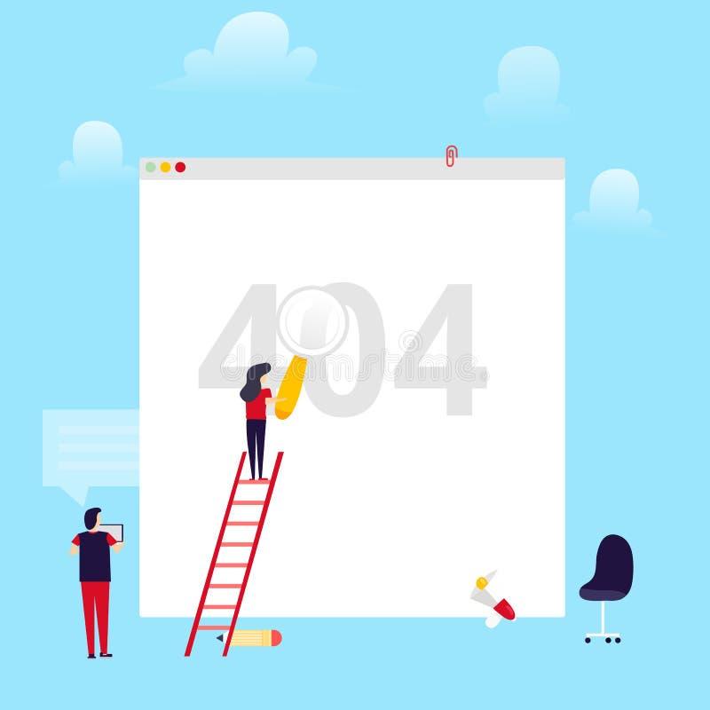 与修理打破的连接的人和女孩的错误404页平的布局概念 不能找到请求的网站  库存例证
