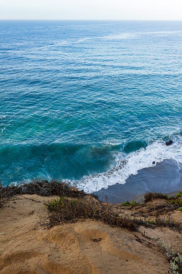 与俯视太平洋的杂草和野花的砂岩露出 免版税库存图片