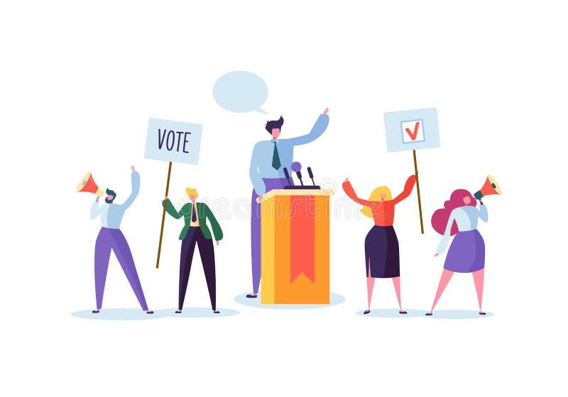 与候选人的政治集会讲话的 投票与字符的竞选活动拿着表决横幅和标志 向量例证