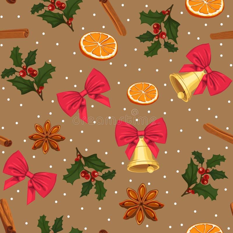 与假日属性的无缝的新年样式 与弓、桔子和芬芳香料的样式 向量例证