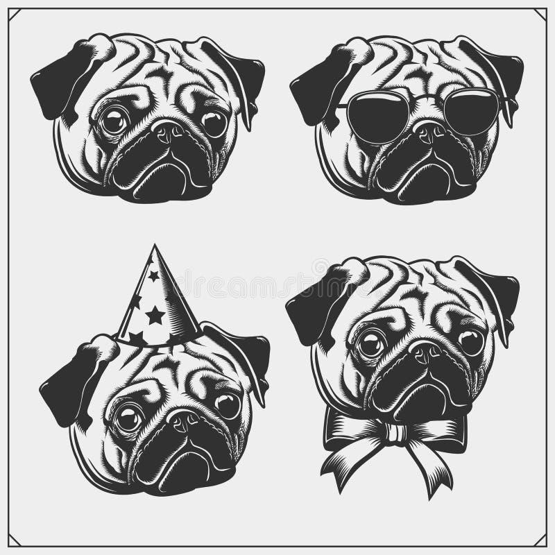 与假日属性的逗人喜爱的哈巴狗狗画象 T恤杉的印刷品设计 宠物店设计的模板 皇族释放例证