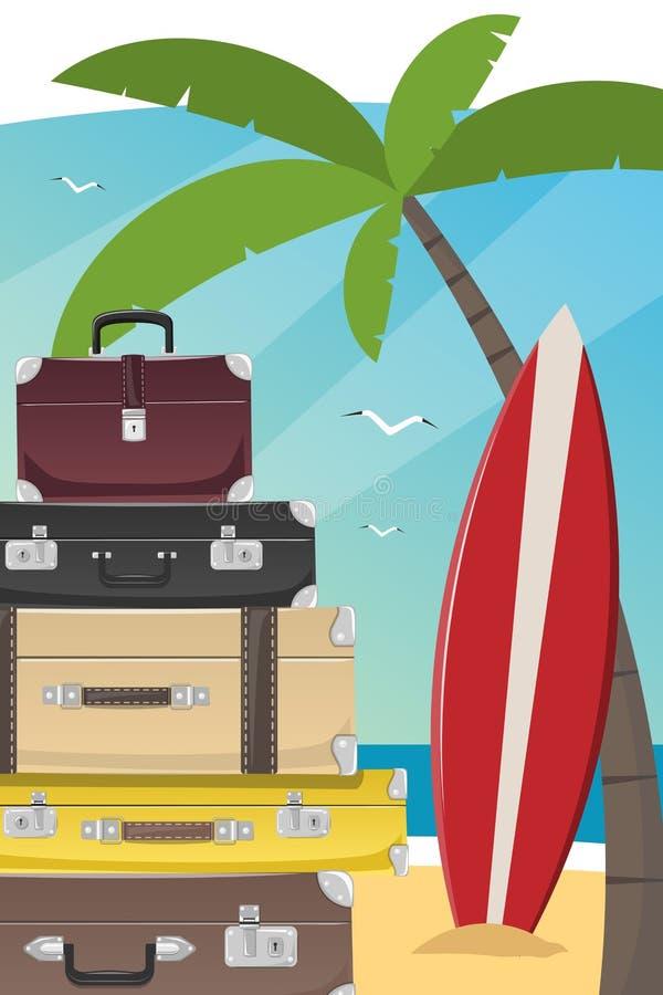 与假期和海滩项目的垂直的图象 皇族释放例证