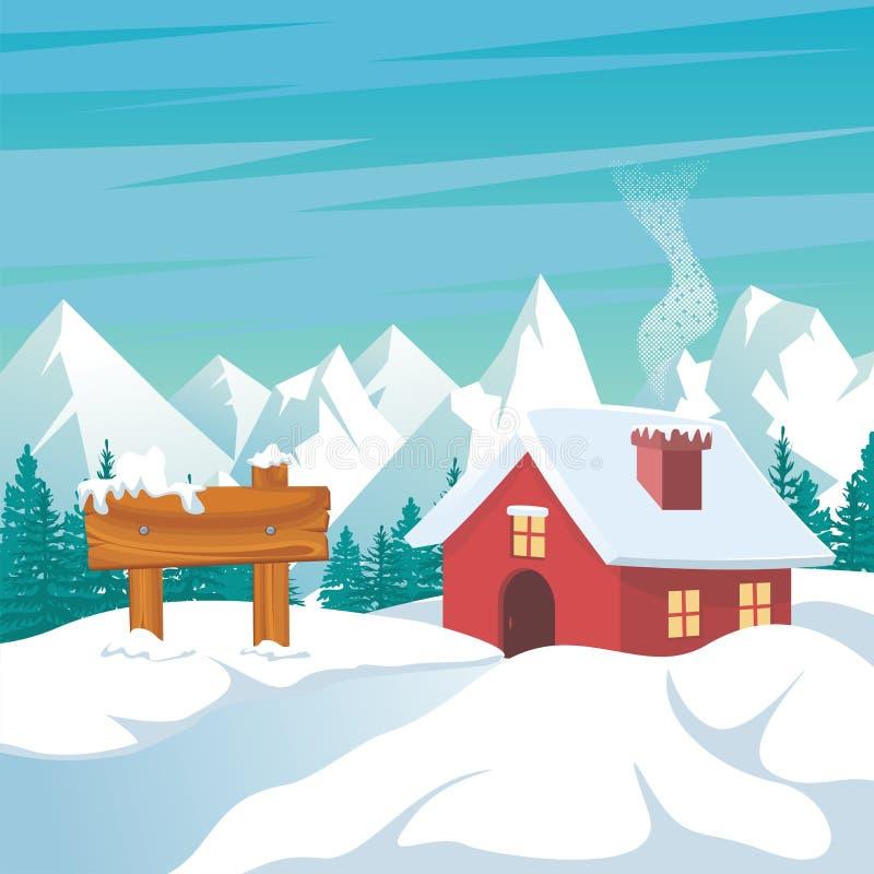 与偏僻的家和风景多雪的设计的冬天风景 库存例证