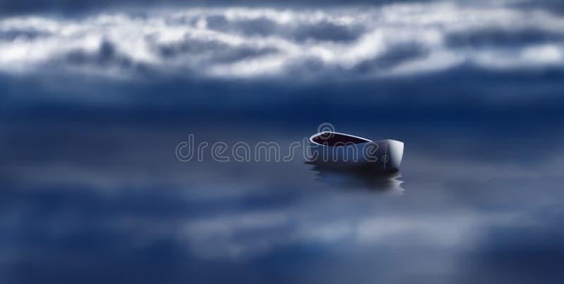 与偏僻的小船的美好的横向 库存例证