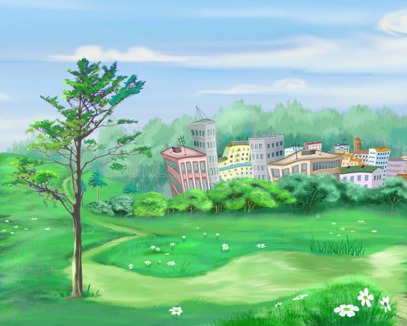 与偏僻的树和小城市的农村风景背景的 向量例证