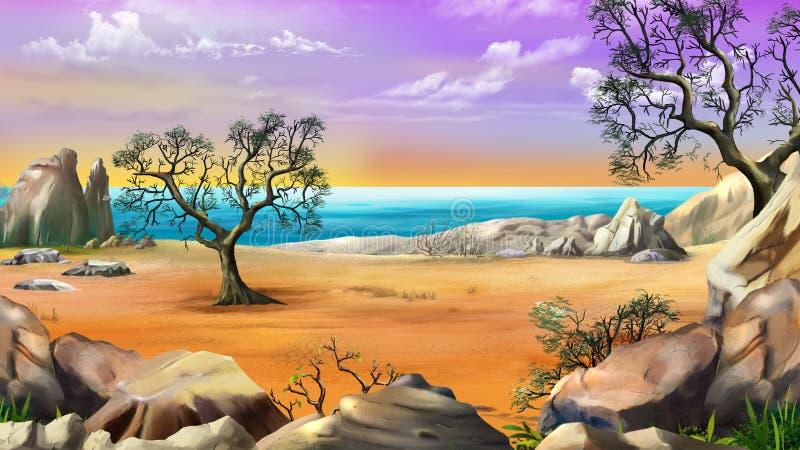 与偏僻的树的岩石岸 向量例证