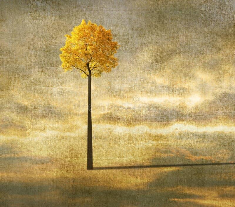与偏僻的树的超现实的背景 免版税库存图片