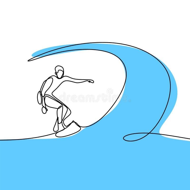 与做冲浪在海滩的人的夏天一线描 向量例证
