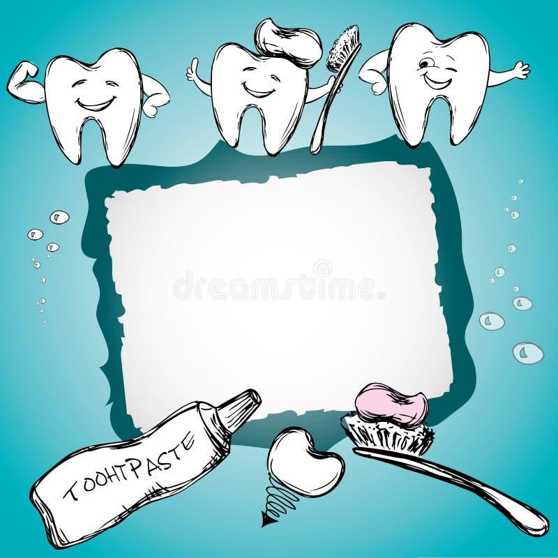 与健康牙的框架,牙膏,牙刷 向量例证