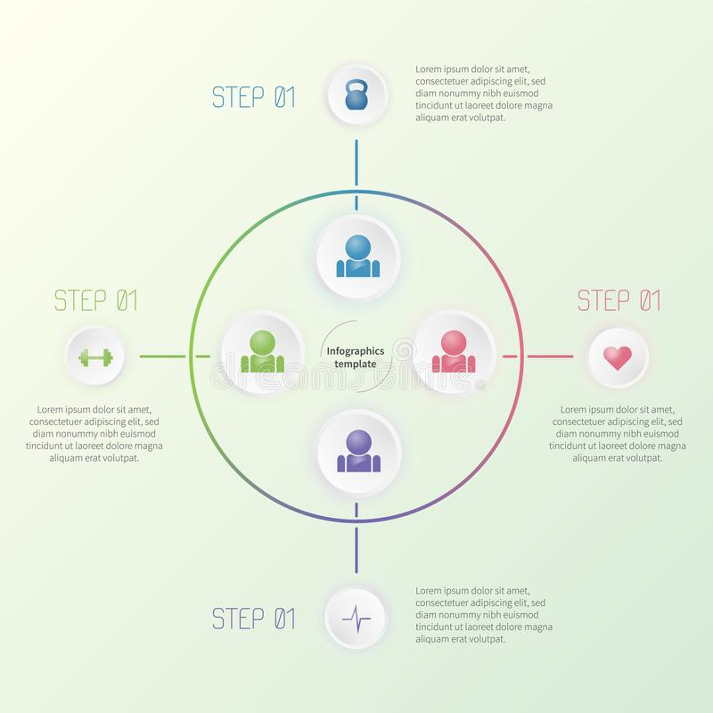 与健身象的五颜六色的infographic模板 五颜六色的企业概念 免版税图库摄影