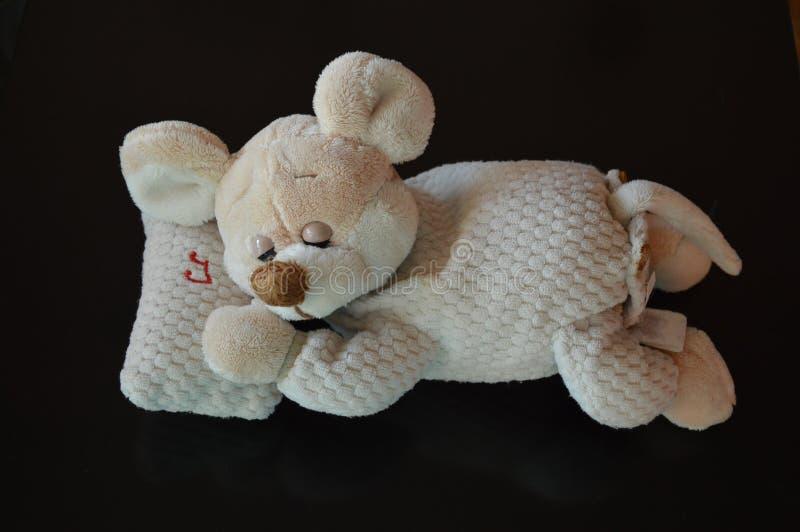 与催眠曲的睡觉滑稽的老鼠-填充动物玩偶-玩具 库存图片
