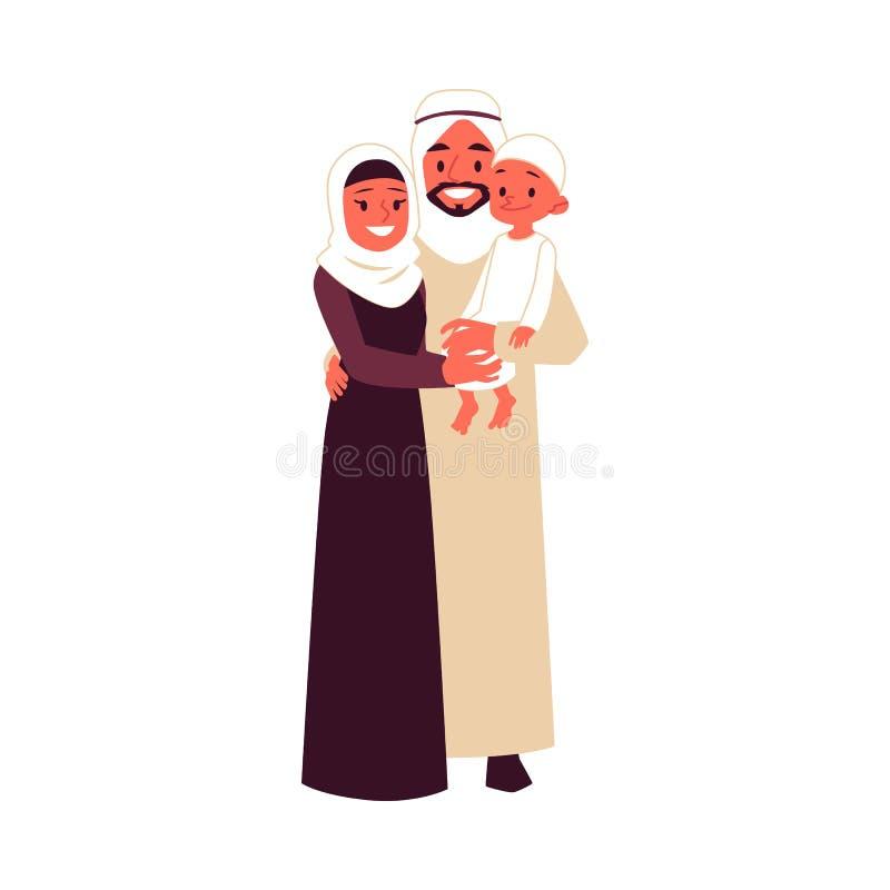 与儿子的阿拉伯家庭传统衣裳的站立拥抱动画片样式 向量例证