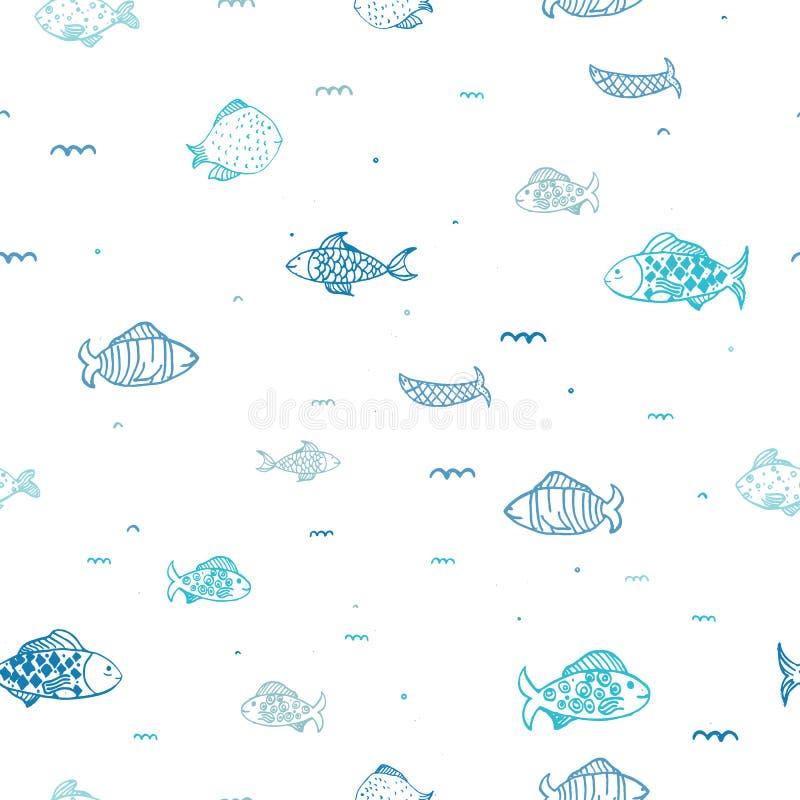 与儿童乱画项目的鱼殖民地无缝的样式衣裳的,包裹 皇族释放例证