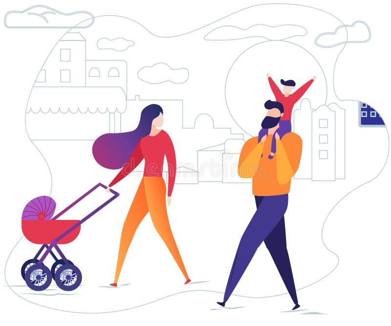 与儿童步行的家庭在有婴儿推车的街道上 向量例证