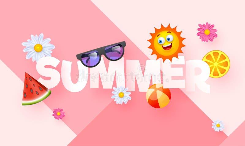 与元素的时髦的文本夏天例如太阳镜、西瓜、柠檬、球、花和动画片太阳 向量例证