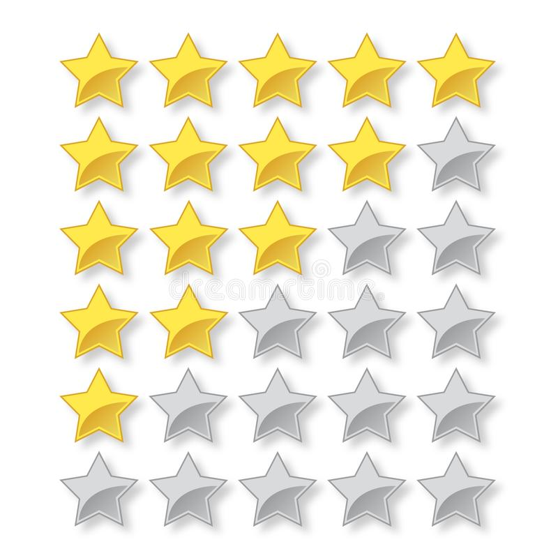 与充分和空的星的五星传染媒介规定值 向量例证