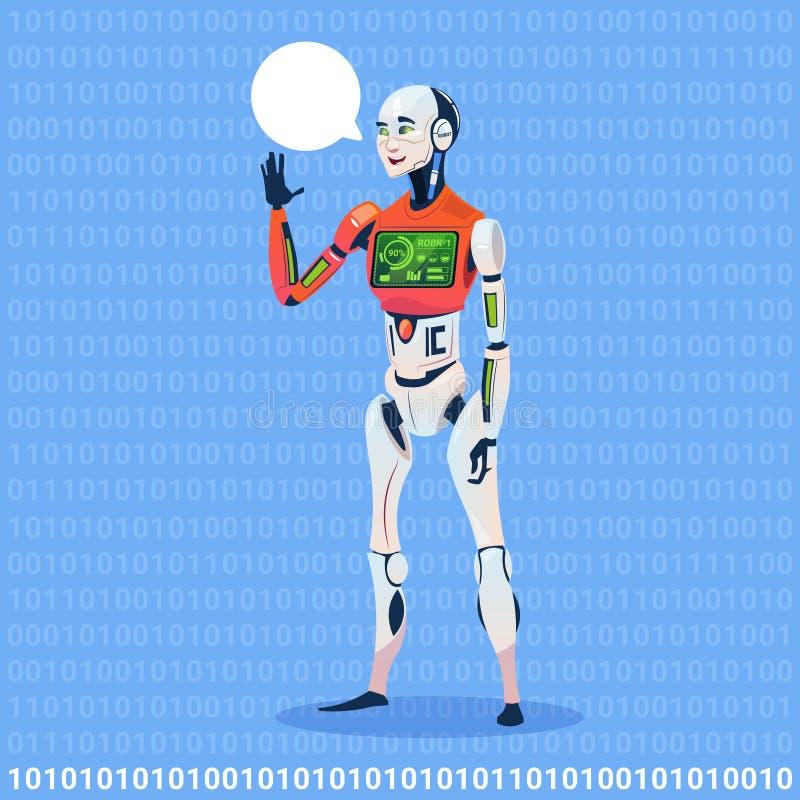 与充分的电池充电未来派人工智能技术概念的现代机器人展示闲谈泡影消息 库存例证