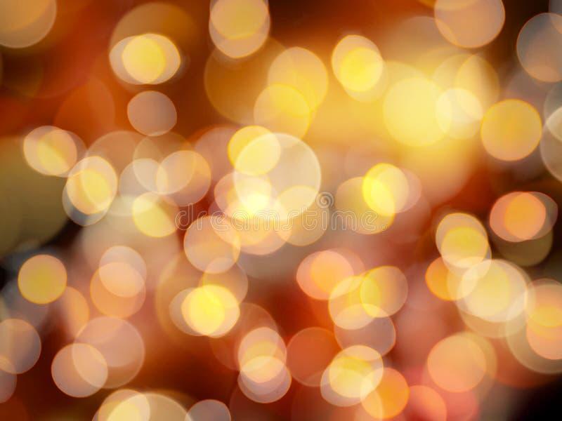 与充满活力的明亮的作用的金黄橙色发光的圆的被弄脏的光 库存例证