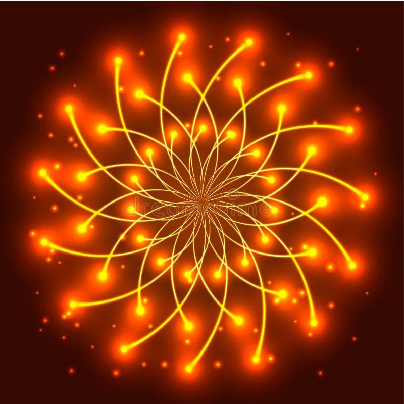 与光亮的光线的抽象黄色星 皇族释放例证