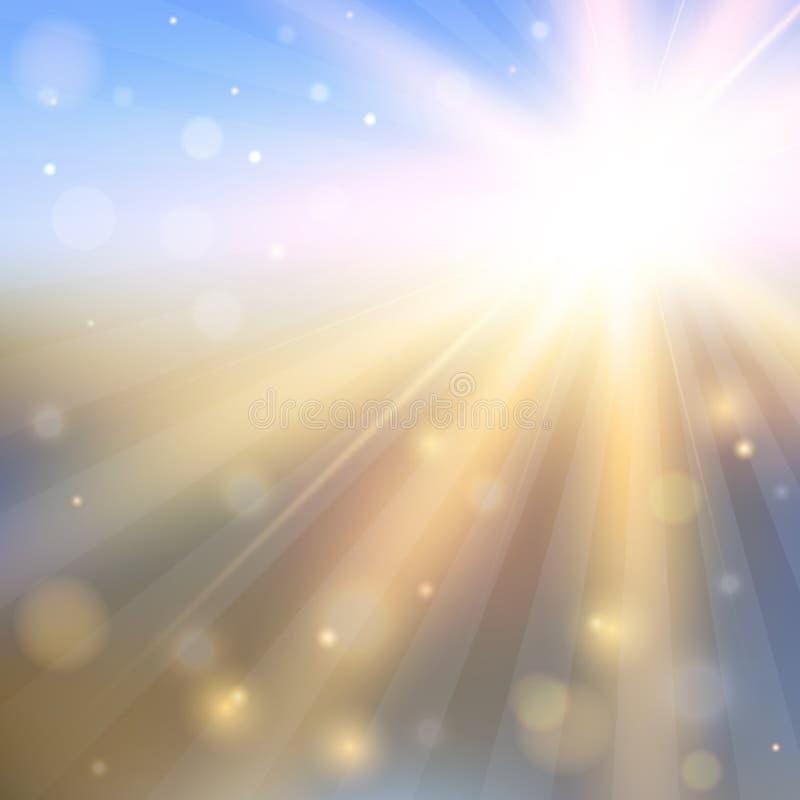 与光亮的太阳的抽象背景 皇族释放例证