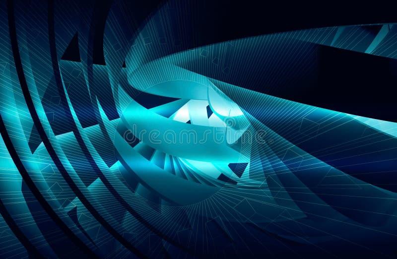 与光亮的深蓝3d螺旋的抽象背景 库存例证