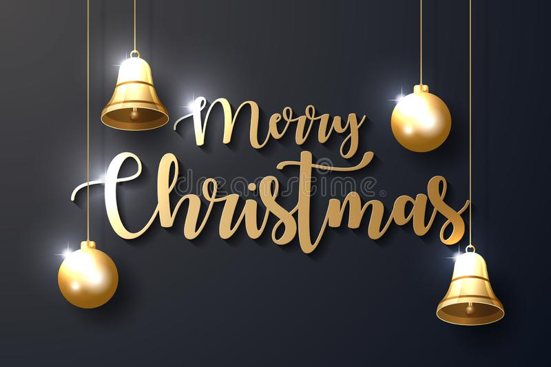 与光亮的金装饰品的圣诞快乐背景 库存例证