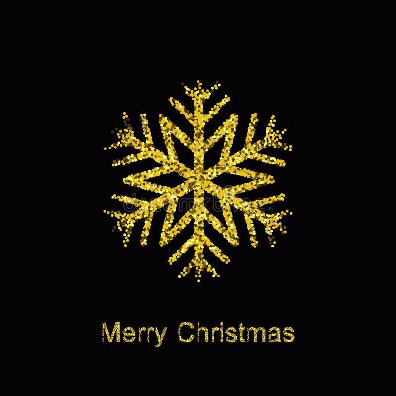 与光亮的金雪花的典雅的圣诞节背景 向量例证