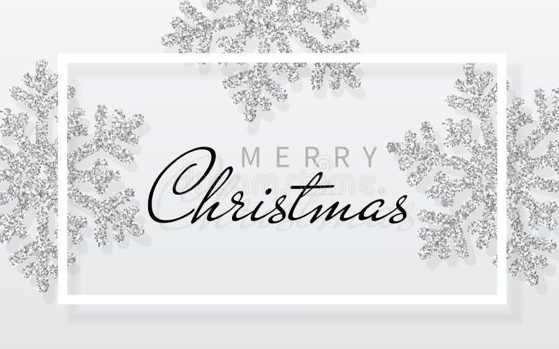 与光亮的银色雪花和白色框架的圣诞节背景 圣诞快乐和新年好卡片 也corel凹道例证向量 向量例证