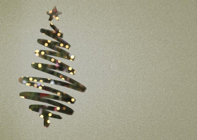 与光和星的圣诞树 免版税图库摄影
