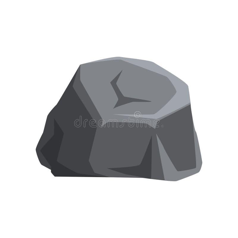 与光和阴影的坚实灰色石头 大山岩石 地质题材 地图或机动性的自然传染媒介元素 向量例证