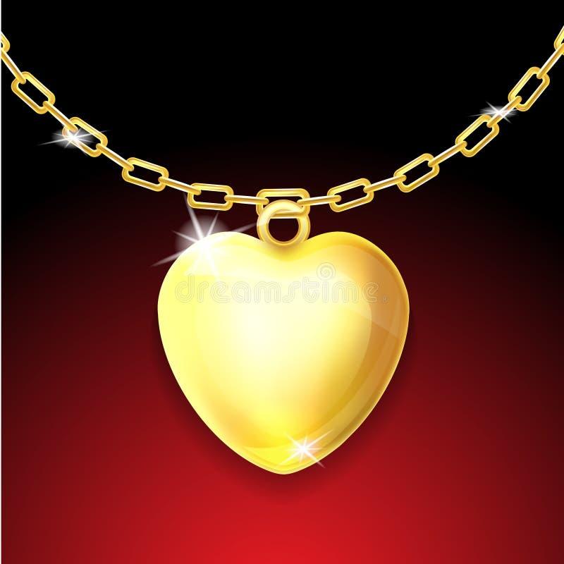 与光滑的重点的金黄项链 库存例证