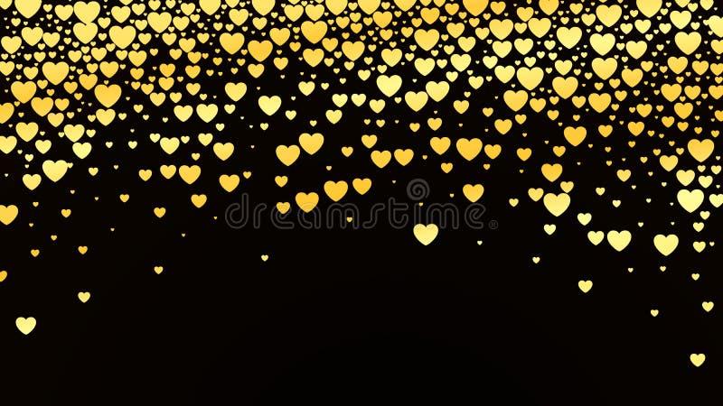 与光滑的金黄心脏的情人节背景在黑暗 也corel凹道例证向量 库存例证