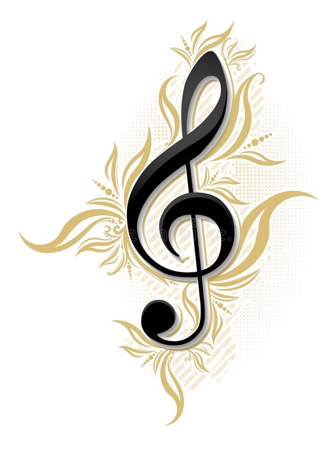 与光滑的g谱号和花卉装饰的音乐设计 库存例证