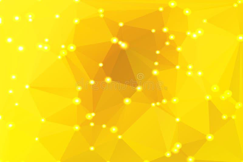 与光的明亮的金黄黄色几何背景 皇族释放例证