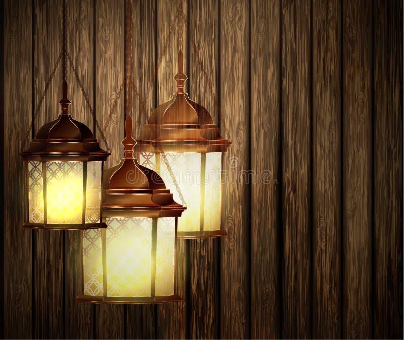 与光的木纹理黑暗 库存例证