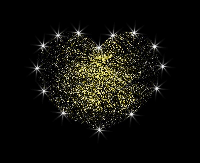 与光的金黄抽象传染媒介心脏 爱与强光的砂金 在黑暗的背景隔绝的设计元素 库存例证