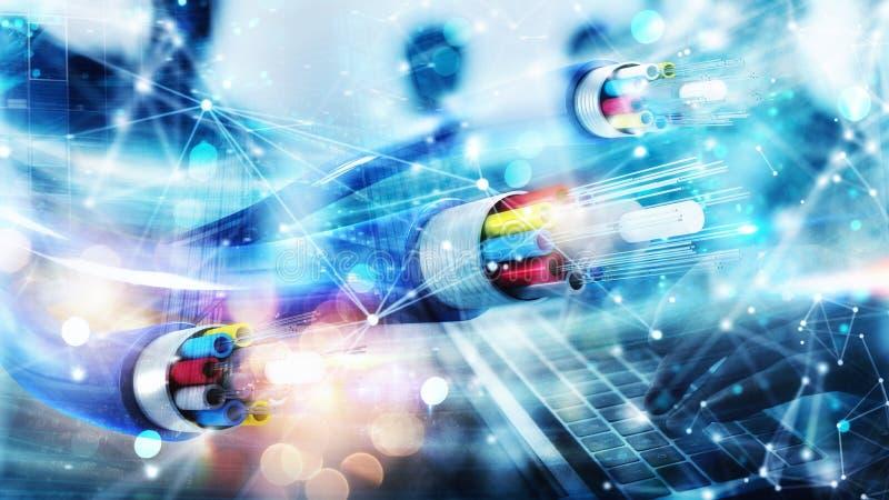 与光纤的互联网连接 快速的互联网的概念 免版税库存照片