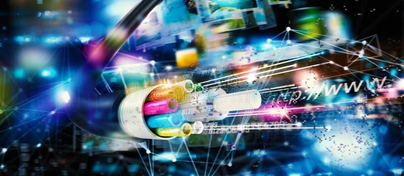 与光纤的快速的互联网连接 库存图片